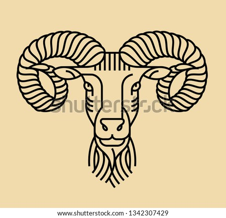 Emblem, badge with a ram head in the style of linear engravings, armorial symbols. in the style of linear engravings, armored symbols.  Coat of arms, heraldry. Aries zodiac sign.