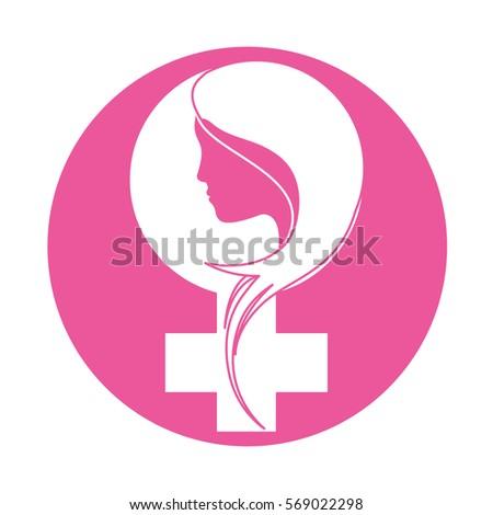 emblem breast cancer ribon with woman symbol image design