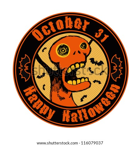 "emblem ""happy halloween"" with screaming weird character and bats. vector illustration."