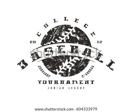 Emblem of baseball tournament. Graphic design for t-shirt. Black print on white background