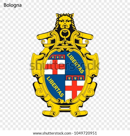 Emblem of Bologna. City of Italy. Vector illustration