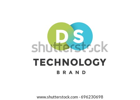 Emblem of business company with two circle, letter D, S, text Technology. Logo template of two merged circles for brand. Logo, signs, labels, identity, badges for business brands. Vector Illustration