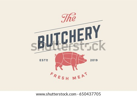 emblem of butchery meat shop...