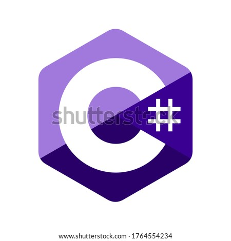Emblem of C sharp programming language. Blue hexagon with the letter C and number symbol inside. Stockfoto ©