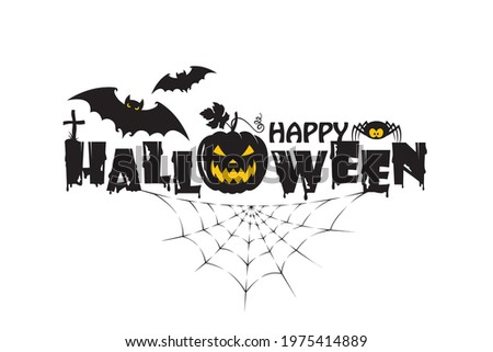 emblem of happy halloween with pumpkin, bats and spider isolated on white background