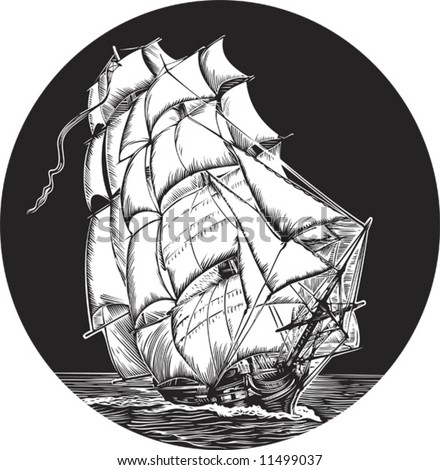 emblem of old ship with white