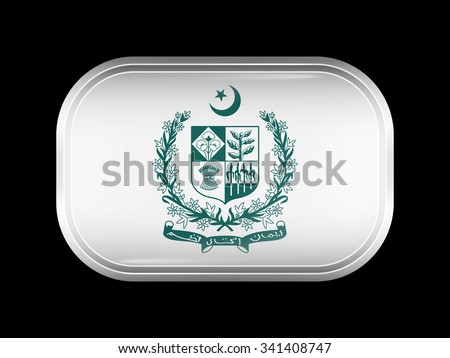 Emblem of Pakistan. Rectangular Shape with Rounded Corners. This Flag is One of a Series of Glass Buttons