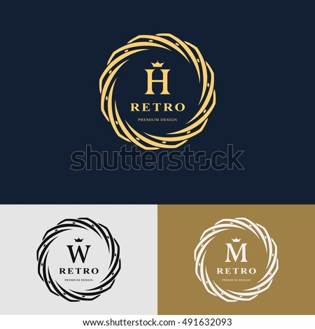 Emblem of woven circle. Monogram design element, graceful template. Simple logo design Letter H, W, M for Royalty, business card, Boutique, Hotel, Heraldic, Web design. Vector illustration