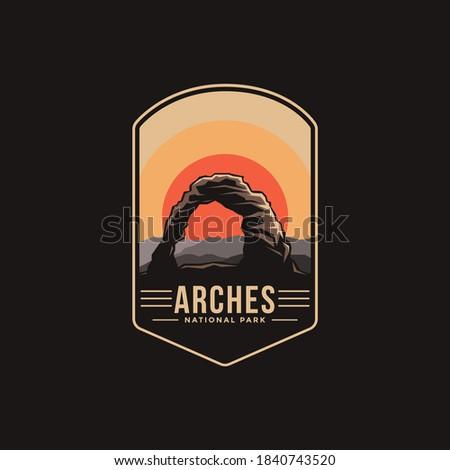 Emblem patch logo illustration of Arches National Park on dark background Zdjęcia stock ©