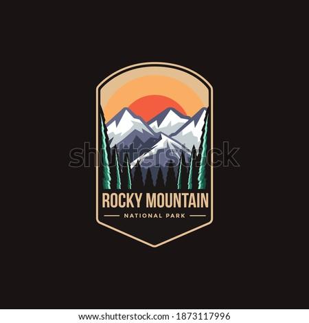 Emblem patch logo illustration of  Rocky Mountain National park on dark background Сток-фото ©