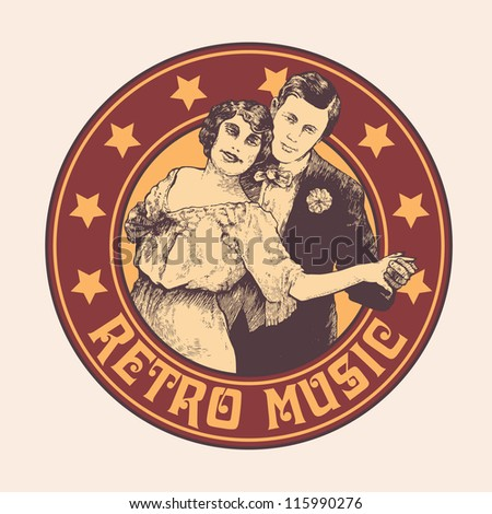 "emblem ""retro music"" with man and woman dance a tango . vector illustration. color version."