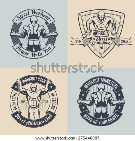 Emblem street workout club. Logos fitness club, a gym, with the image of athlete. Logo with a muscular athlete. Text can be replaced.