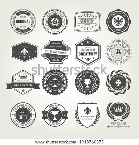 Emblems, badges and stamps set - awards and seals designs Foto d'archivio ©