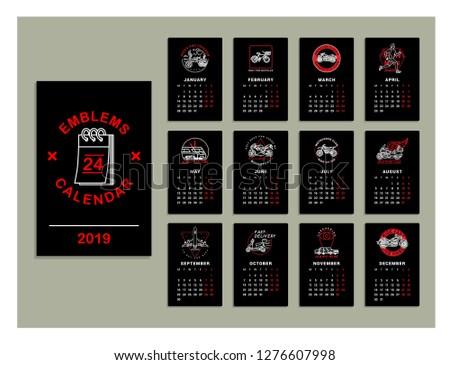 emblems calendar 2019 graphic