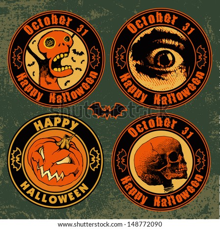"emblems ""happy halloween"" set. vector illustration."