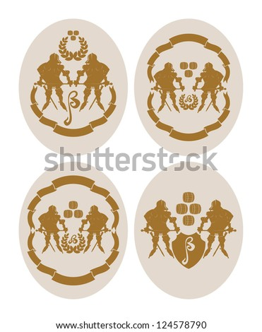 Emblems on beer coasters, 4, vector