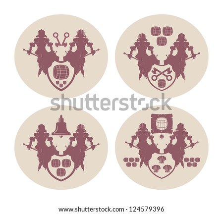 Emblems on beer coasters, 7, vector