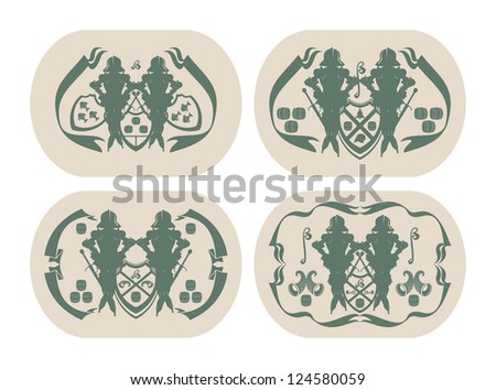 Emblems on beer coasters, 9, vector