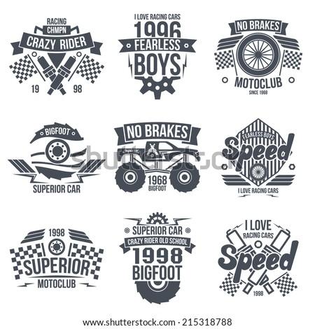 emblems retro vintage race and
