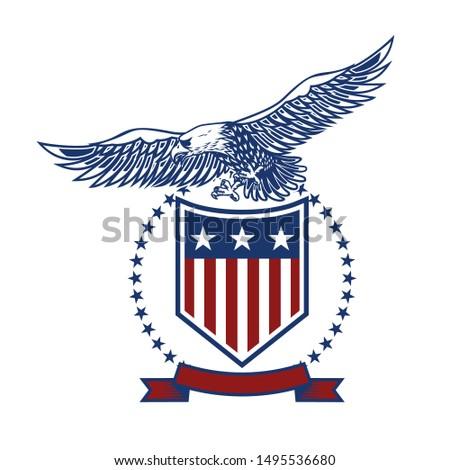 emblems with eagles and usa flags. Design element for poster, emblem, sign, logo, label. Vector illustration