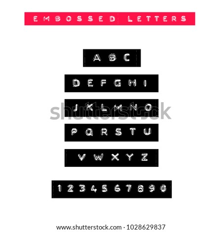 Embossed letters tape font. Vintage adhesive label type. Vector alphabet