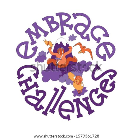 Embrace challenges lettering with doodles