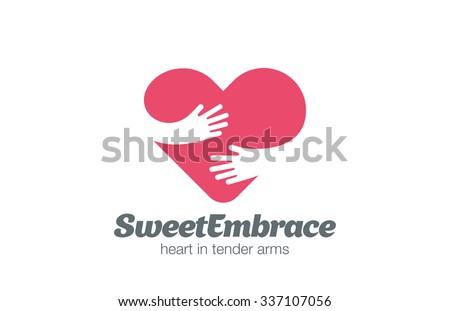 embrace heart shape logo design