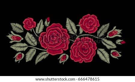 Embroidered flowers. Chic red roses. Fashion design. Vector floral print.