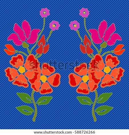 Embroidered flowers for denim. Vector floral pattern with gypsy style roses. Bohemian textile collection. Wildflowers.