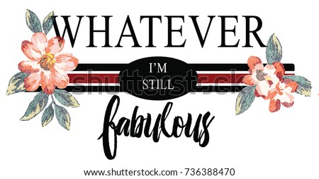 Embroidered flowers slogan