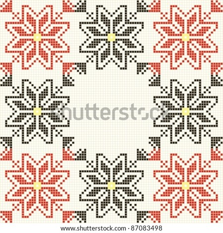 Embroidered good like handmade cross-stitch folks Romanian pattern