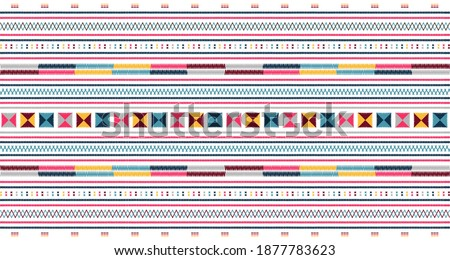 Embroidered pattern Vector illustration. Blue, burgundy and pink stitch on white background. Abstract stitch pattern in Thai hill tribe style. Idea for printing on fabric, cloth design or wallpaper.