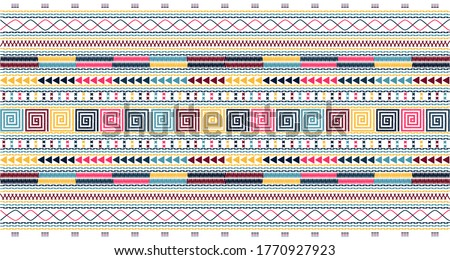 Embroidered pattern Vector illustration. Dark,red,yellow and orange stitch on grayish blue background. Abstract stitch pattern in Thai hill tribe style. Idea for printing on fabric or wallpaper.