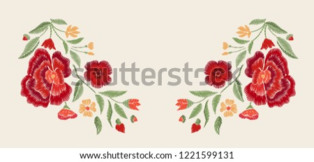 Embroidered red  flowers. Vector floral print.