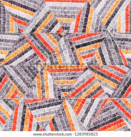 Embroidered seamless geometric pattern. Ornament for the carpet. Ethnic and tribal motifs. Vintage grunge texture. Colorful print of handmade. Orange, gray, black and white colors. Vector art.