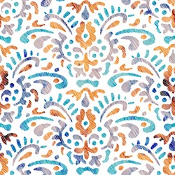 Embroidered seamless pattern. Bohemian wavy print. Watercolor texture on a white background. Vector illustration.