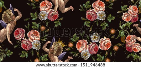 embroidery angels and roses