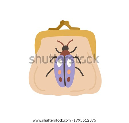 Embroidery art on women vintage purse with metal clasp. Trendy fashion fancywork on small bag. Handmade decoration on retro handbag. Colored flat vector illustration isolated on white background Stock photo ©