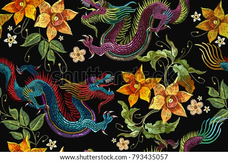 embroidery asian dragon and