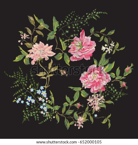 Embroidery beautiful floral pattern with roses, peony and forget me not.  Vector traditional embroidered bouquet with oriental flowers on black background for clothing design.