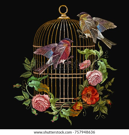 embroidery birds and birds cage ...