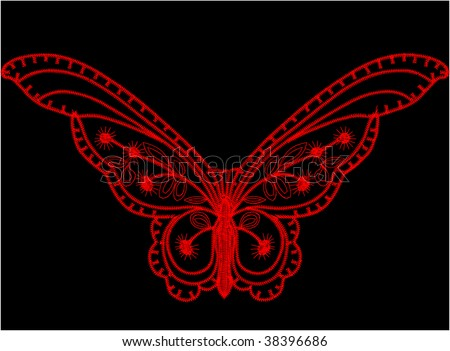 Stem Stitch Butterfly Pattern - Butterfly Embroidery Pattern