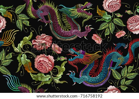 Embroidery chinese dragons and flowers peonies seamless pattern. Classical asian dragons and beautiful peonies seamless pattern. Clothes, textile design template
