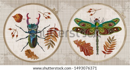 embroidery collection insects