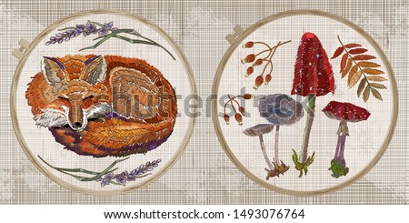 embroidery collection red fox