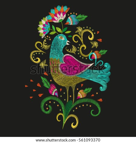 Embroidery colorful ethnic floral pattern for neckline. Vector traditional folk bird with flowers ornament on black background for fashion design.