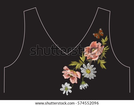 Embroidery colorful floral neck line pattern with poppy and daisy flowers. Vector asymmetrical traditional trend fashion ornament with chamomiles and butterfly on black background