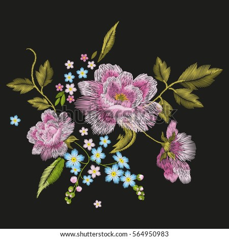 Embroidery colorful floral pattern with dog roses and forget me not flowers. Vector traditional folk fashion ornament on black background.