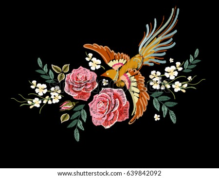 embroidery colorful floral...