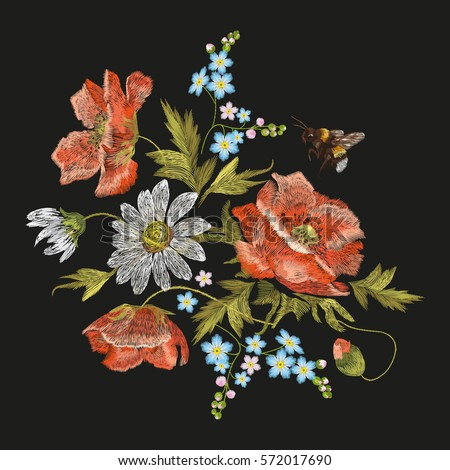 Embroidery colorful floral pattern with poppy and daisy flowers. Vector traditional folk fashion ornament with chamomiles and bee on black background.
